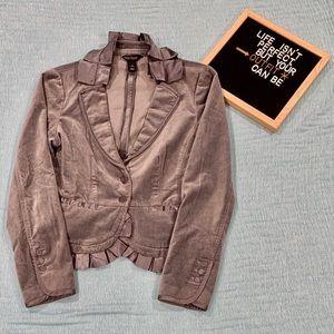 WHBM gray velvet peplum evening jacket